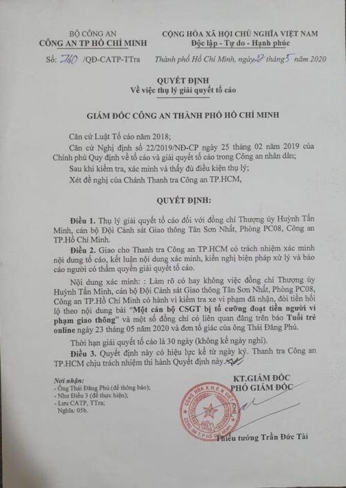 Quá 30 ngày điều tra, vụ CSGT Tân Sơn Nhất bị tố vòi 6,2 triệu đồng giờ ra sao?