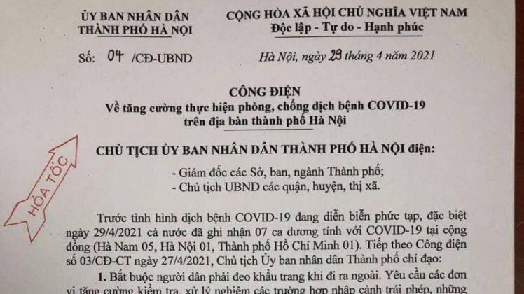 Hà Nội ban hành công điện khẩn về việc tăng cường thực hiện phòng chống Covid-19