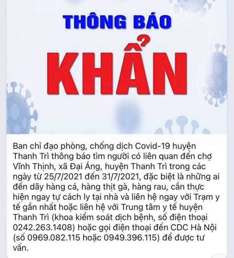Hà Nội tìm người từng đến một chợ ở huyện Thanh Trì