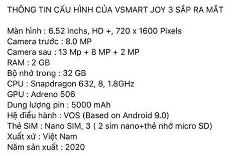 Vsmart Joy 3 giá rẻ lộ diện với cấu hình 'chất' hơn Xiaomi Redmi 7