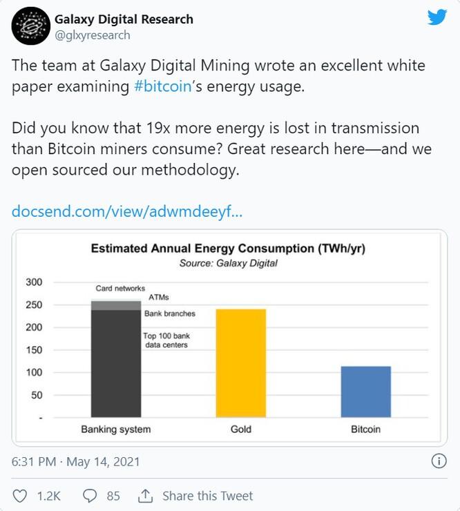 Nghiên cứu mới cho thấy việc khai thác Bitcoin sử dụng ít năng lượng hơn ngân hàng truyền thống