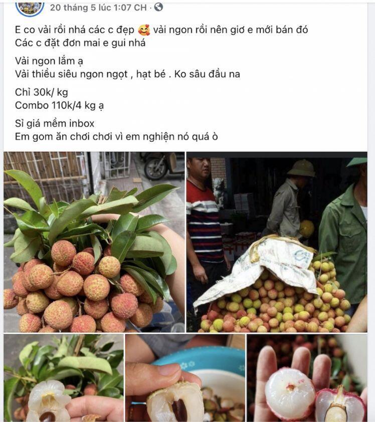 """Vải đầu mùa bán tràn Hà Nội: Hút khách từ """"chợ mạng"""", ven đường đến siêu thị"""