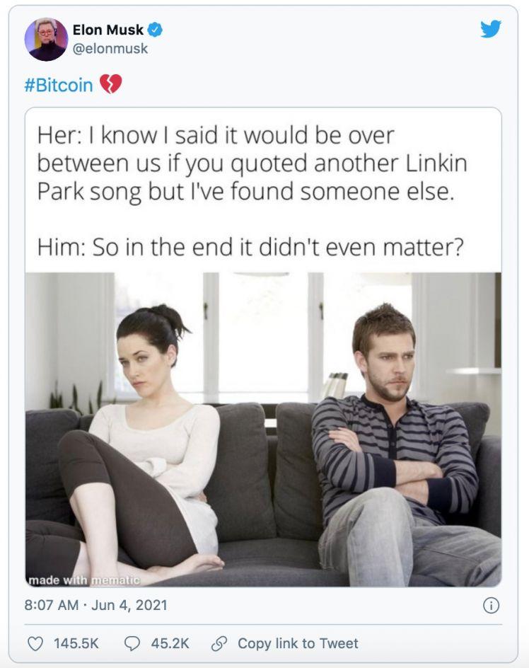 Bitcoin lại lao dốc sau khi Elon Musk tweet ngụ ý chia tay với Bitcoin