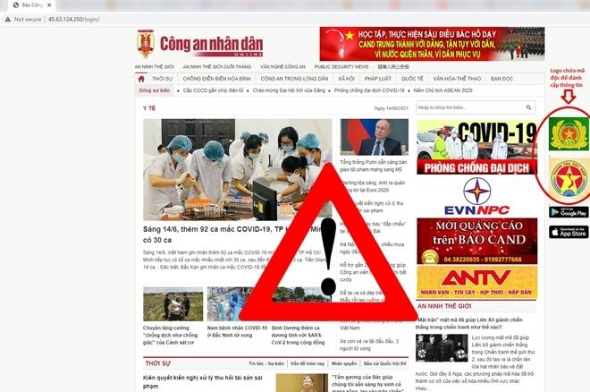 Trang web từ nước ngoài giả mạo Báo CAND để lừa đảo