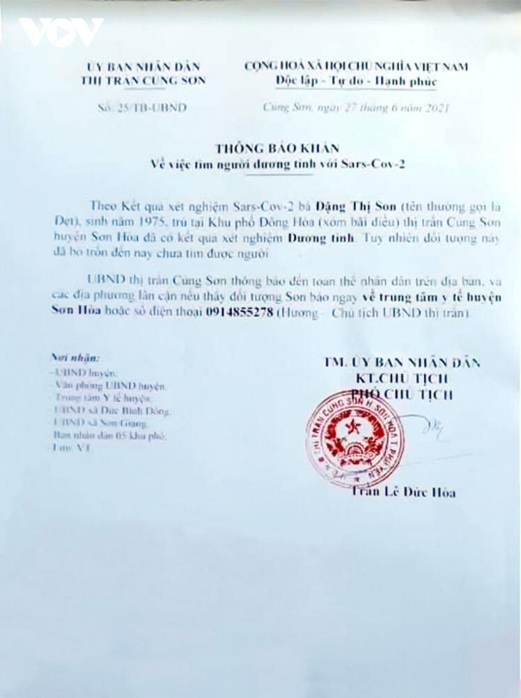 Phú Yên thông báo khẩn ca dương tính bỏ trốn chưa tìm thấy