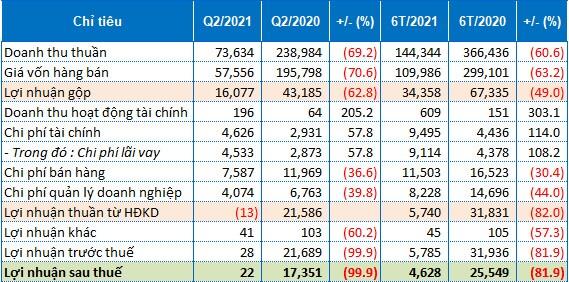 Danameco thu vỏn vẹn 22 triệu đồng lãi ròng trong quý 2/2021