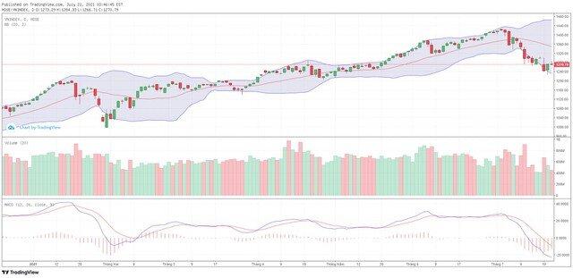 Góc nhìn kỹ thuật phiên giao dịch chứng khoán ngày 22/7: VN-Index đang trong xu hướng giảm ngắn hạn