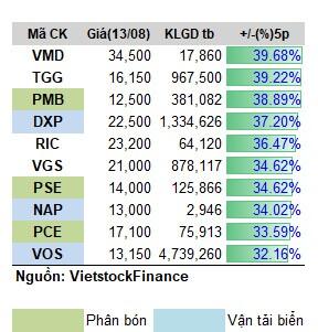 Điểm danh cổ phiếu tăng vài chục phần trăm trong tuần 09 -13/08